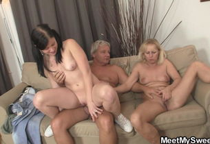 Mature duo and his virgin girlfriend 3..