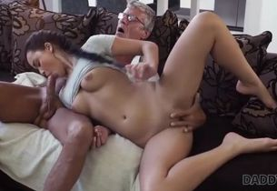 Daddy4k. greyhaired elderly boy with..