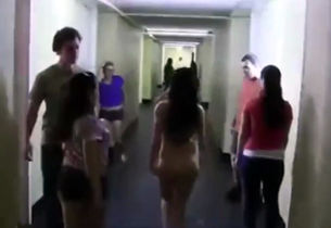 Nudst coeds streaking at the dormitory