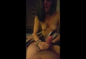 Lovely punk damsel gf tugging penis