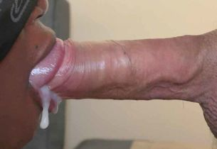 Black virgin oral job spunk in gullet