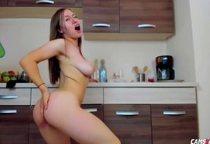 Loli young stunner slutting in kitchen