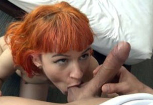 Red-haired woman getting rigid Stiffy..