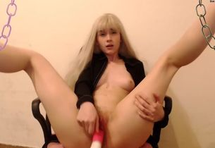 Tiny young woman blond toying with her..